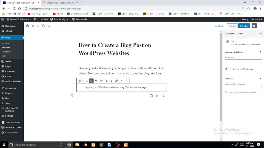 A sample blog post in WordPress Gutenberg Blocks