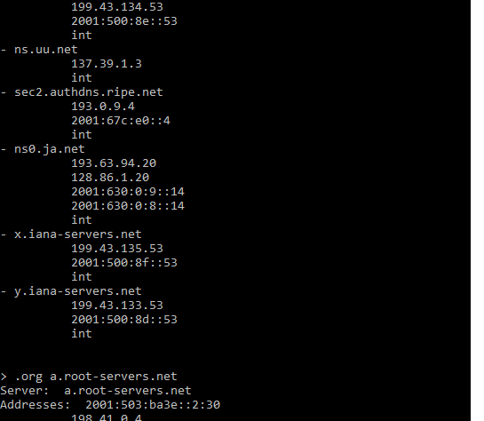 Using HOST command to find root servers
